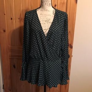 Forever 21 Plus Hunter Green and White Wrap Top